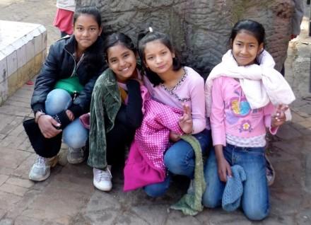 young Unatti girls on the morning walk