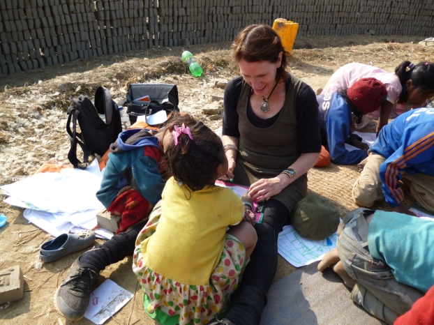 Anne working with some of the smaller children